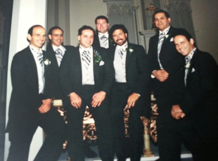 Joe with his brothers and best friends at his wedding