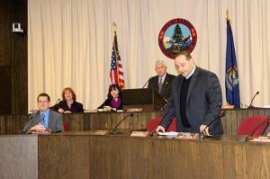 Councilor Joe Baldacci speaking at a Bangor City Council meeting
